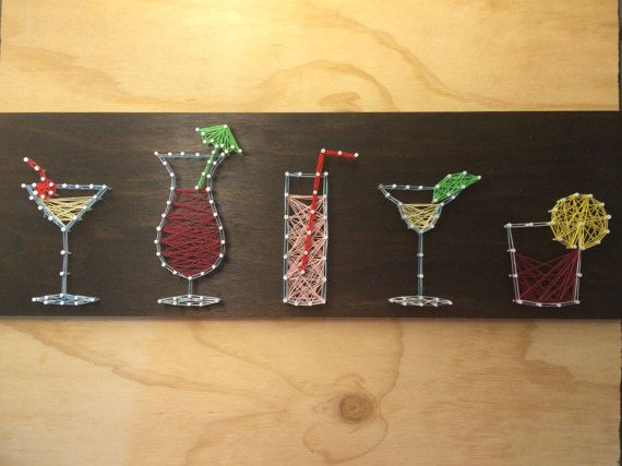 String Art Board: Cocktails [Made to Order], Colourful Drinks, Bar Sign, Wine Glass, Home Bar, Martini