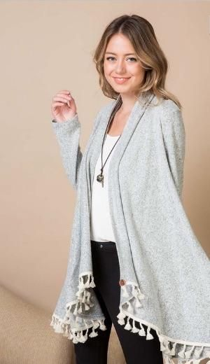 66b8e107b3c Grey Tassel Button Cardigan- Rosie Grace Boutique - Come shop casual and  comfortable women s clothing online -- sizes range from petite to plus size!