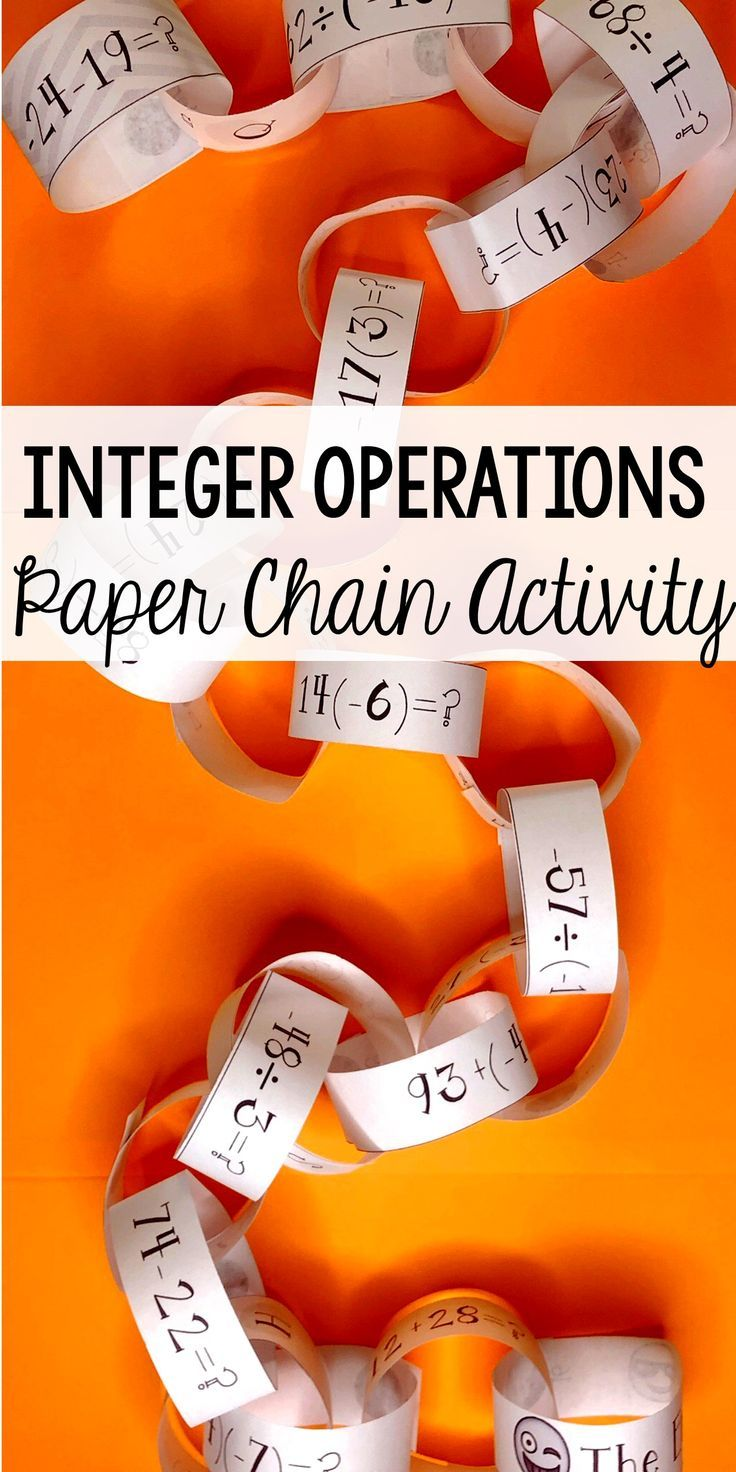 This Integer Operations Paper Chain Activity Really Had My 6th Grade Math Students Excited To Work Wi Integer Operations Integer Operations Activities Integers [ 1472 x 736 Pixel ]