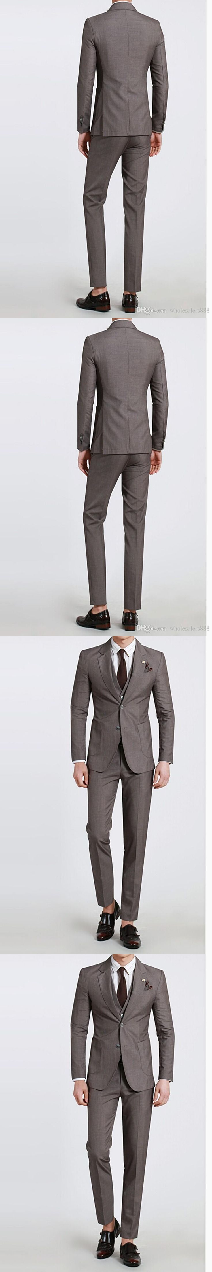 New Arrival Groom Tuxedos Slim Fit Groomsmen Notch Lapel Best Man Suit/Bridegroom/Wedding/Prom Suits (Jacket+Pants+Tie+Vest)