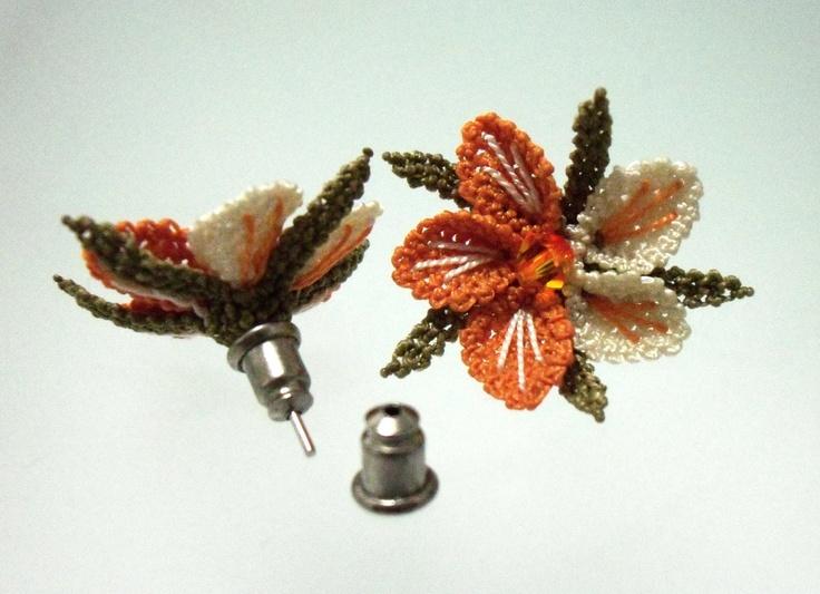 Needle lace earrings