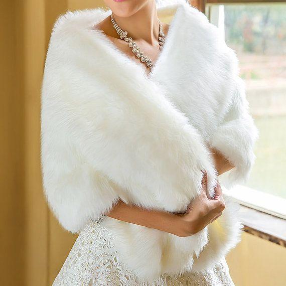 Châle Wrap nuptiale et mariage de fourrure, fourrure Wrap fait Fur Wrap mariée, mariage d'hiver, châle de mariage sur mesure