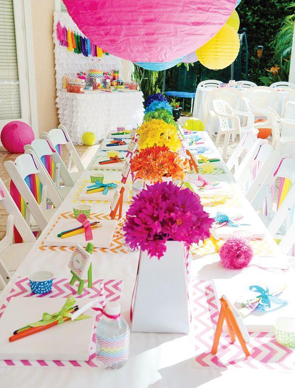 Rainbow Art party. I love this idea!