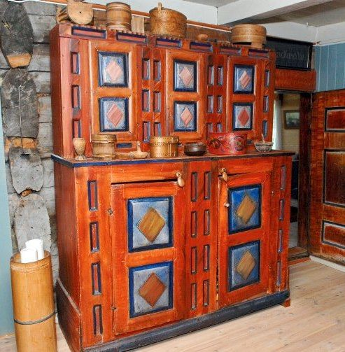 Attractive Old Norwegian Cabinet On Systog Dale Farm In Valle In Setesdal  Valley,Norway.