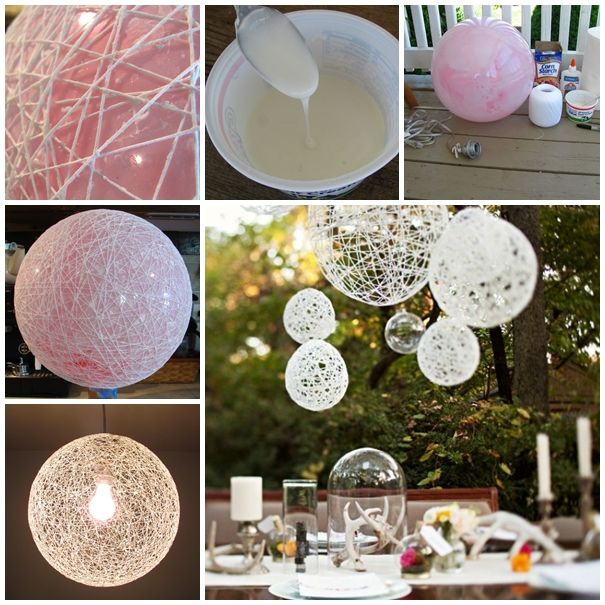 These string chandeliers were the perfect addition to the outdoor dining experience, but they would be equally pretty inside as well.  Tutorial with video--> http://wonderfuldiy.com/wonderful-diy-decorative-string-chandelier-with-yarn-and-balloon/