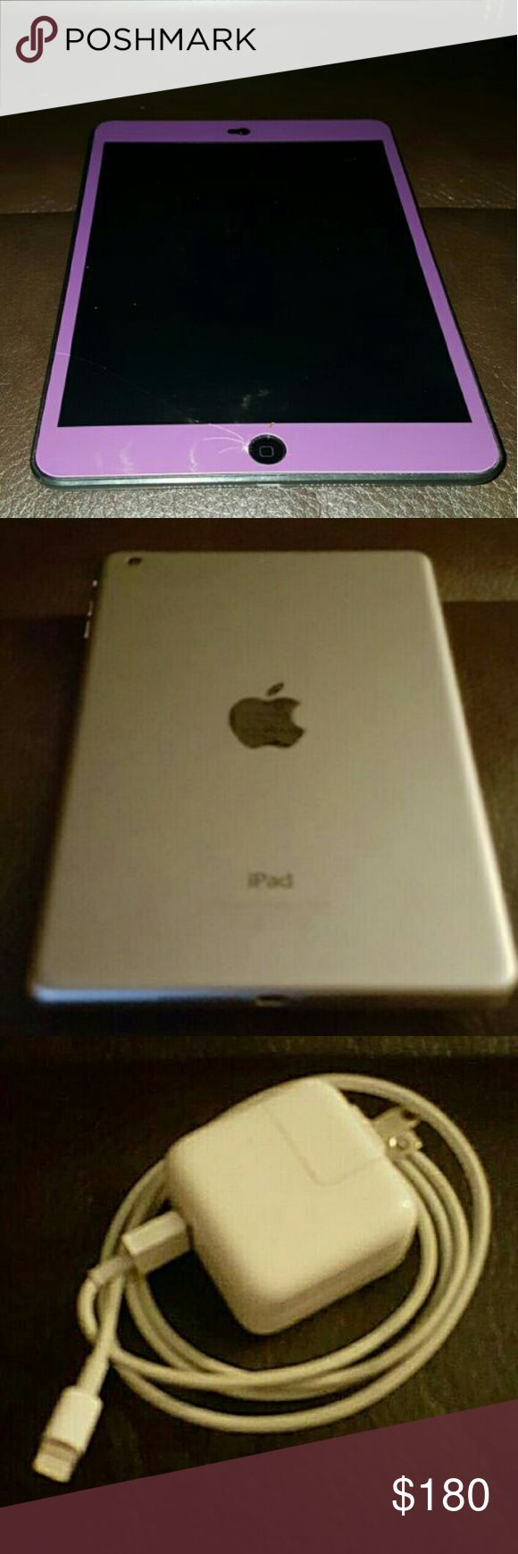 """I Pad Mini 2 32GB I Pad Mini 2 with 32GB .. Purple face with silver backing .. 7.9"""" Retina Display .. Thin & Light Design .. A7 Chip.. Ultrafast Wireless .. WiFi Connection .. USB Power Adapter.. No Cloud Account and Does Not Come with Box .. There is a hair line crack in the lower left corner, please see pictures.  This was a gift to me and I've used a handful of times. Unfortunately I am not a fan of Apple products. Soooo other than the hair line crack this I Pad Mini 2 32GB is in like new…"""