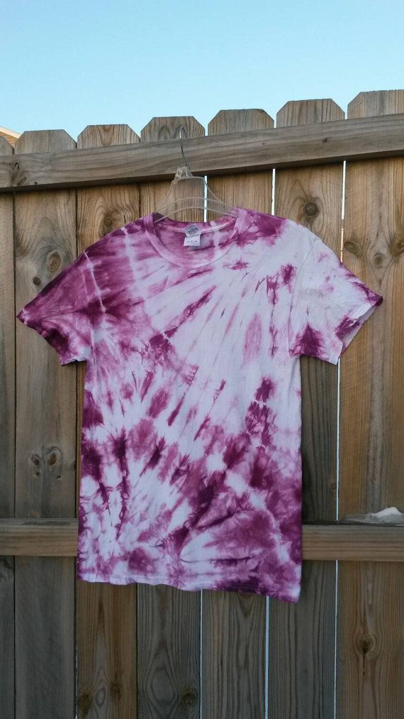 Womens Violet Tie Dye Shirt, Size Medium This 100% cotton, handmade, tie dye shirt is truly one of a kind! The shirt is dyed in various
