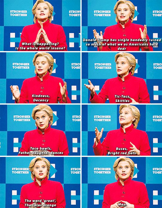 """When Kate McKinnon made this heartfelt speech as Hillary. 