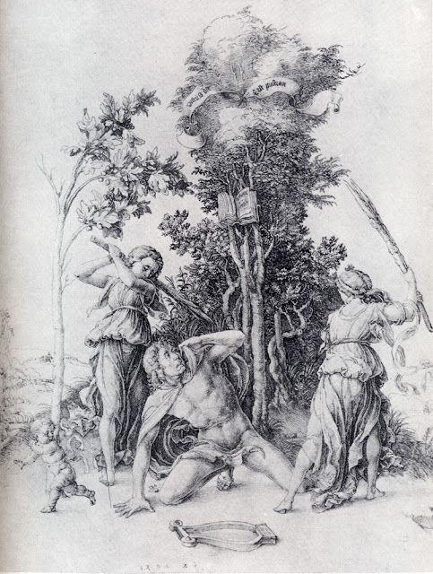 Альбрехт Дюрер - Орфей, убиваемый вакханками и убегающий мальчик (1494)