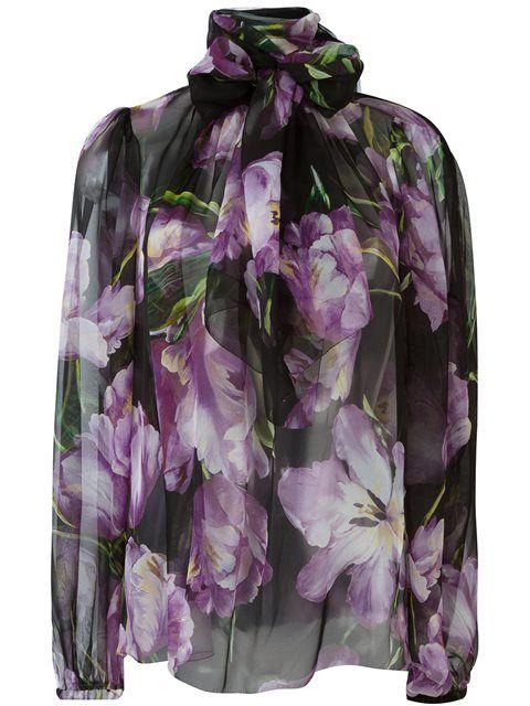 Dolce & Gabbana прозрачная блузка с тюльпанами