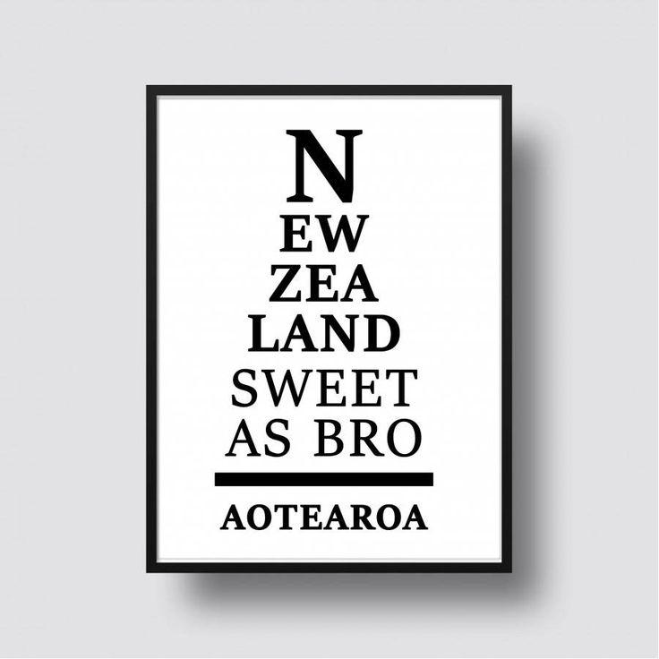 New Zealand Sweet As Bro Kiwiana Print - A5, 8x10, A4, 11x14 or A3 Print
