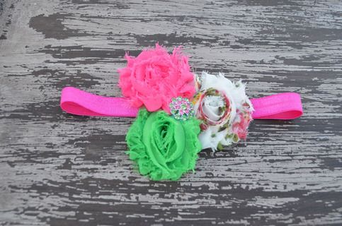 pink, green, cream triple shabby flower headband sold by Chloe's Closet Bowtique. Shop more products from Chloe's Closet Bowtique on Storenvy, the home of independent small businesses all over the world.