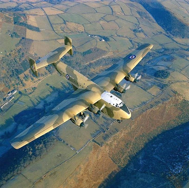 A Blackburn Beverly aircraft of No 84 Squadron RAF flying over Aden during operations in the region.