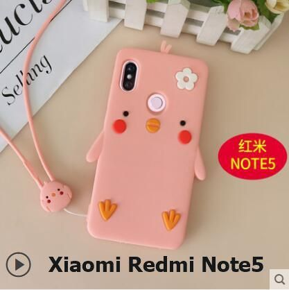 d502ed8db3c Xiaomi Redmi Note 5 Pro Case ,3D Cartoon cute chicken silicon materia lwith  With lanyard