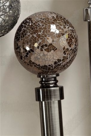 Mink Crackle Glass Ball Curtain Poles and tie backs.