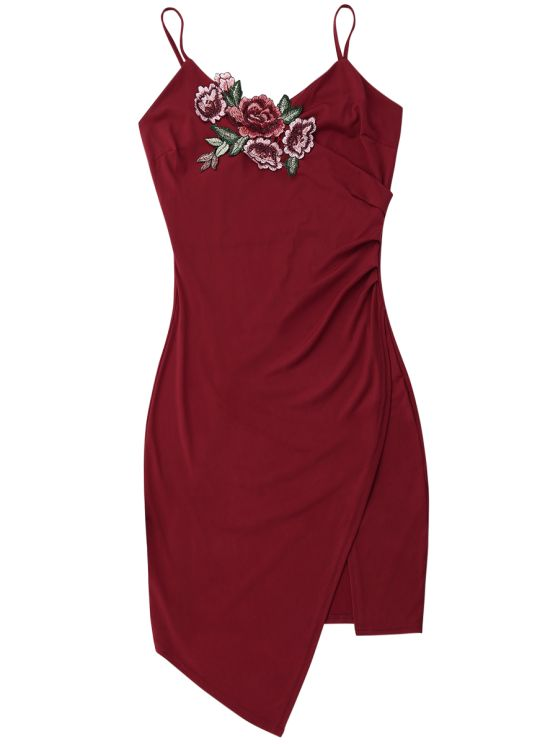 Floral Patched Asymmetrical Surplice Dress - WINE RED M Mobile
