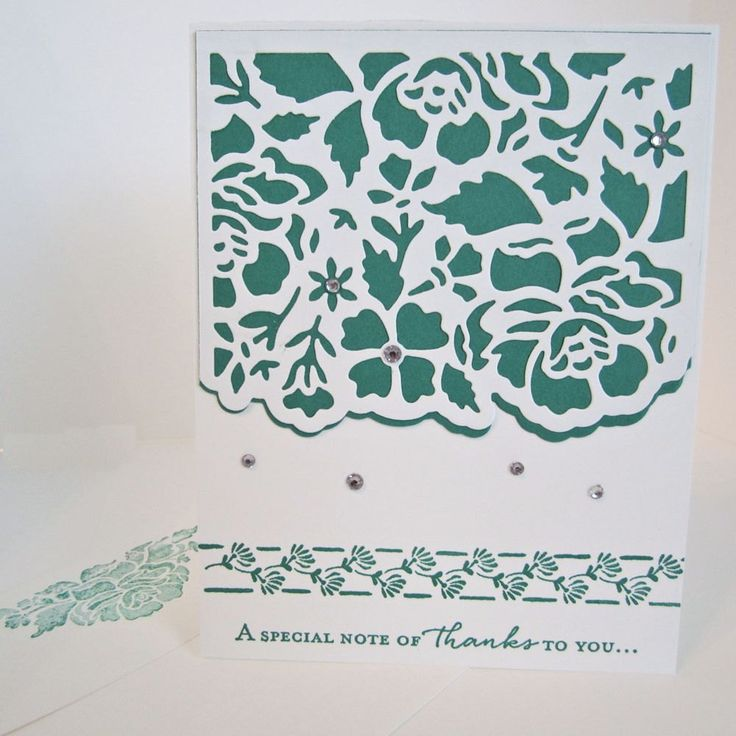 Note of Thanks Card, hand stamped card, thank you card, appreciation card, die cut floral motif, embellished with faux rhinestones, by EnchantedRoseByLinda on Etsy