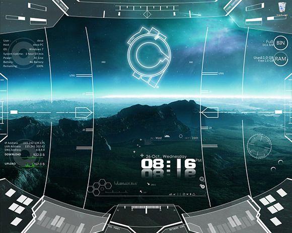 Hi Tech, Future, Sci Fi, Mega Gadgets, Intergalactic, Movies & Games Inspired Rainmeter Skins. #spaceship