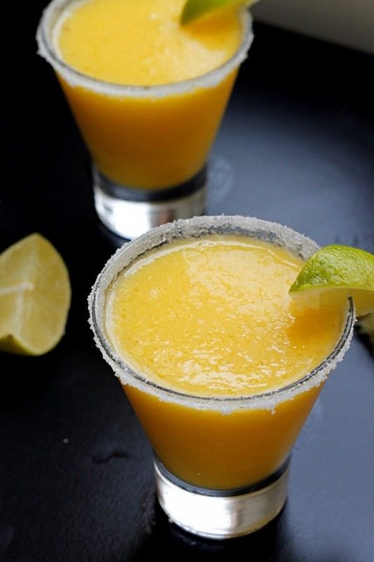 A delicious recipe for a frozen pineapple mango margarita made with tequila
