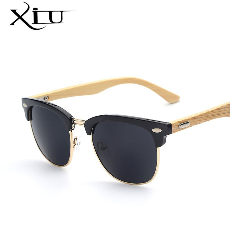 XIU Half Metal Bamboo Sunglasses Men Women Brand Designer Glasses Mirror Sun Glasses Fashion Gafas Oculos De Sol UV400