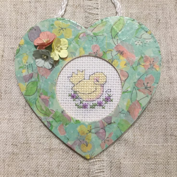 hand stitched picture cross stitch picture heart shaped frame
