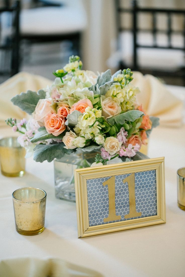 Navy and peach garden wedding table numbers centerpieces and bridal showers