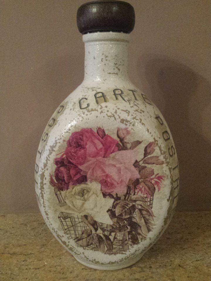 bottle with decoupage and aged technique..