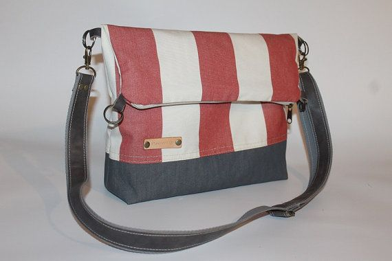 Tote bag Fold over bag red striped canvas  cross body bag waterproof everyday bag