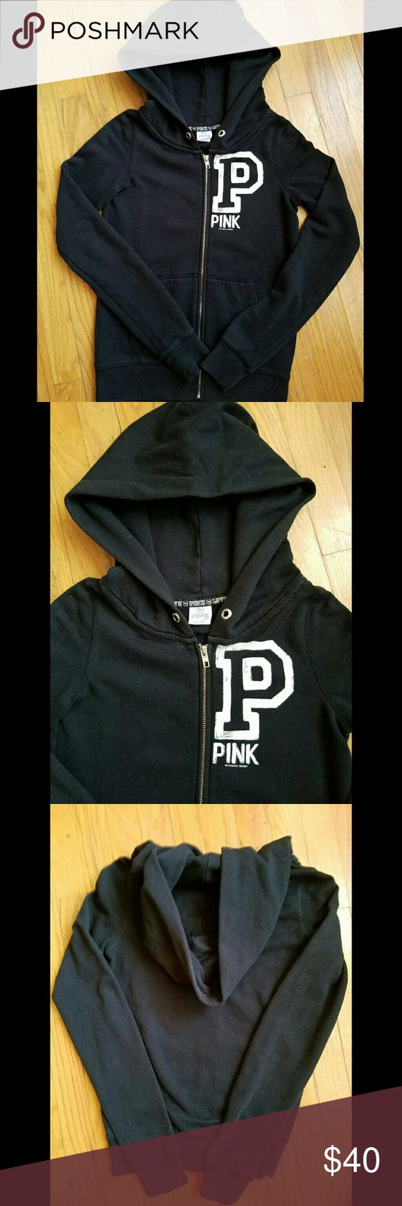 VS PINK Black zip up hoodie XS/S Victoria's Secret Pink black zip-up hoodie. In great condition..worn a few times! Super comfy & cute. Size XS however may fit a S as well PINK Victoria's Secret Tops Sweatshirts & Hoodies