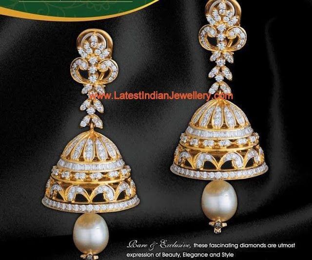 Designer Diamond Jhumka Earrings