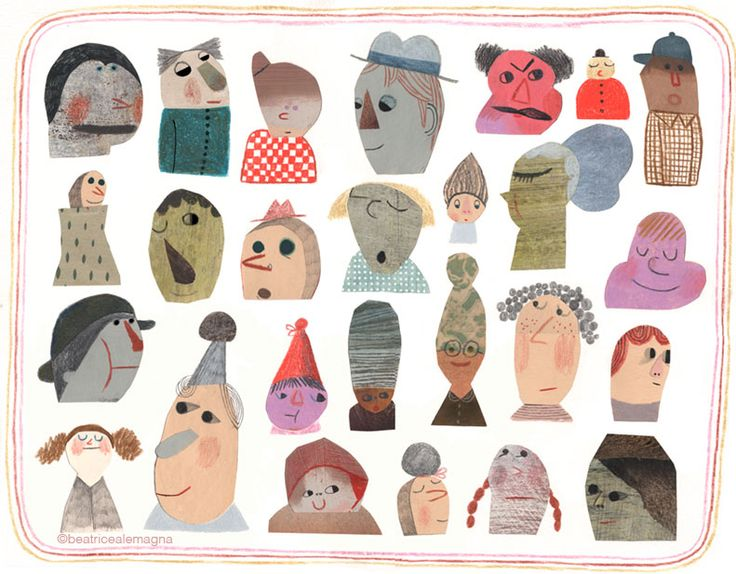 The Topsy Turvy Book : people a topsy-turvy collection of graphic illustrations made by Beatrice Alemagna.