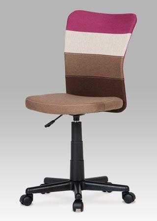 KA-N837 PUR Kancelářská židle látková, barvy v přírodním tónu doplněné o akcent fialové barvy na opěráku. Výškově nastavitelná. Nosnost 60 kg.