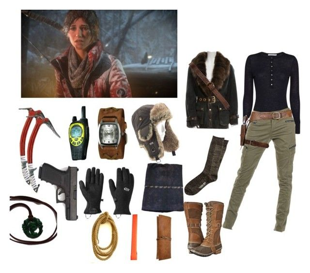 """""""Tomb Raider: Lara Croft's Wintery Survival"""" by determined-and-adventurous ❤ liked on Polyvore featuring T By Alexander Wang, Giuliana Teso, Superdry, SOREL, Abercrombie & Fitch, Bed