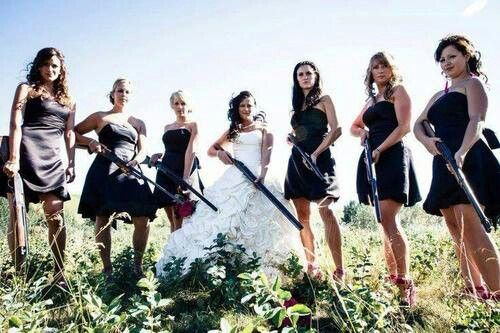 Guns and girls wedding picture
