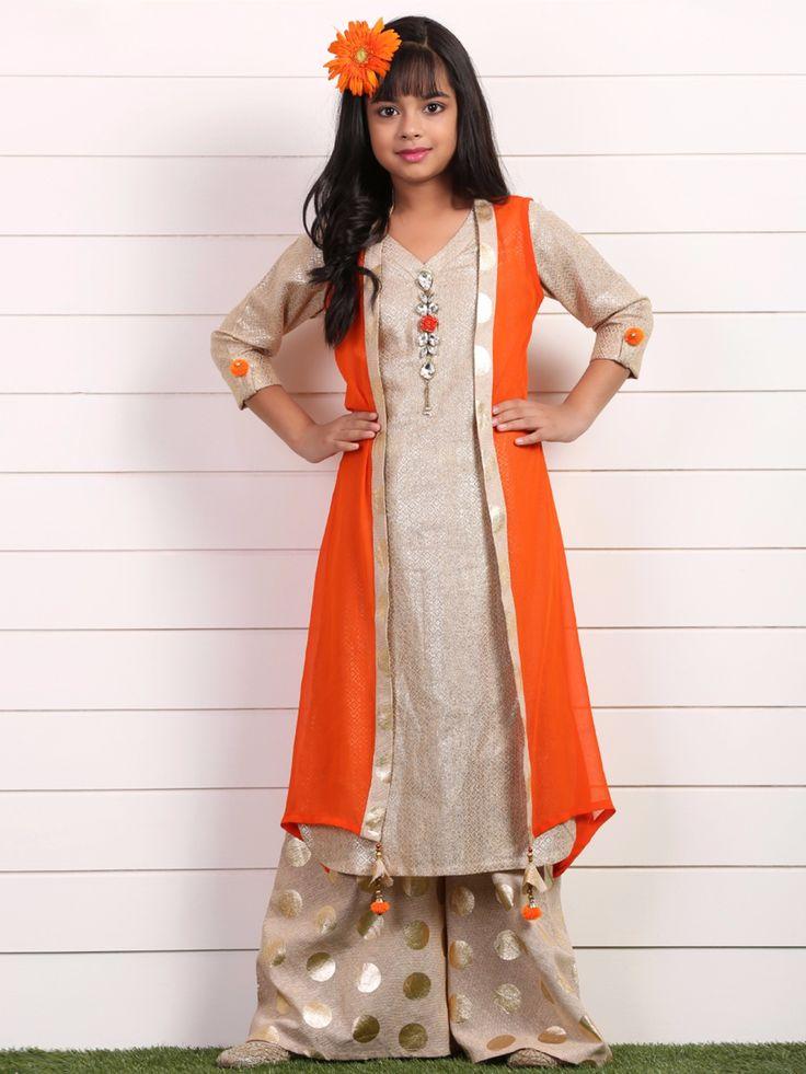 Beige Orange Raw Silk Festive Wear Salwar Suit