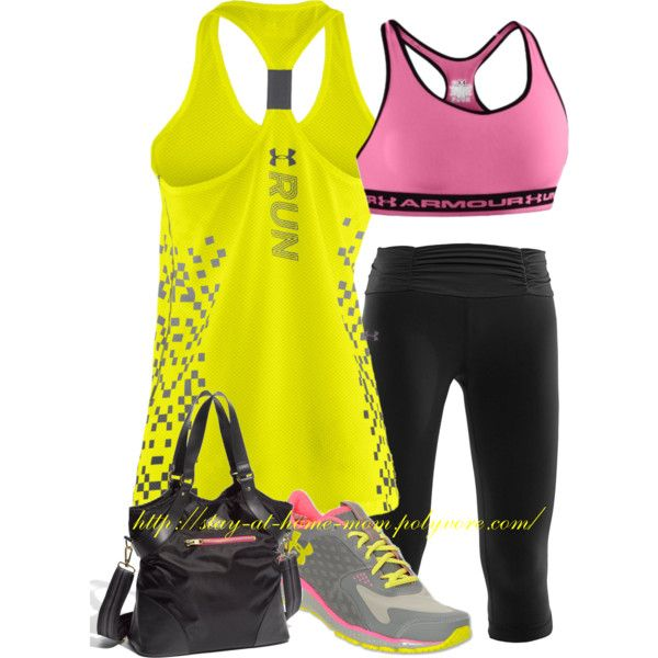 """""""Work-Out Outfit - Under Armour (yellow, pink  black)"""" by stay-at-home-mom on Polyvore"""
