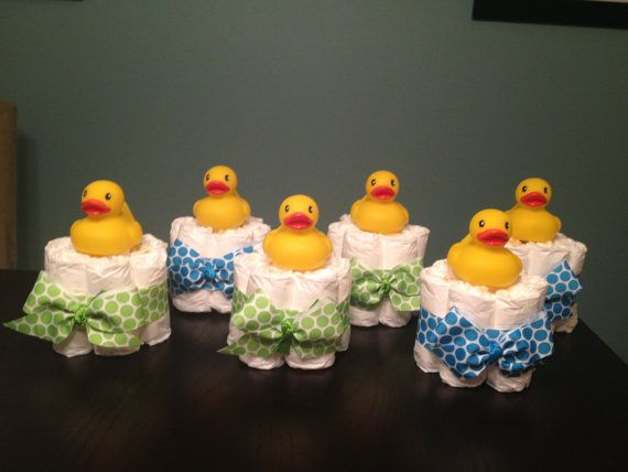 Custom Personalized MINI DIAPER CAKES Baby Shower Gift Table Decoration Diaper Bundles Centerpiece Girl Boy Any Theme Yellow Rubber Ducky on Etsy, $6.00