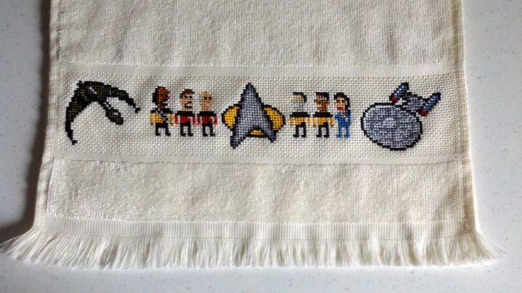 geeky Star Trek towel- cross stitched