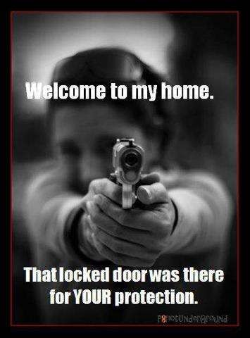 """The girl is pointing her gun barrel towards us! It intentionally enhances the fear fact as we get a feeling that we have been seized by her who might shoot us at any time! This thrilling effect also pops the idea in our head that someone or she will die. Typography """"That locked door was there for your protection' was also impressing as it is like a signpost that tells us we shouldn't have done such a terrible thing. It reminds us the sinnery."""
