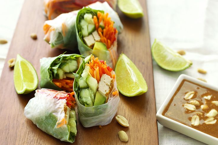 Vegan Rice Paper Rolls with Homemade Hoisin Peanut Dipping Sauce.  Filled with avocado, carrots, cucumbers, chillies, and other healthy ingredients.