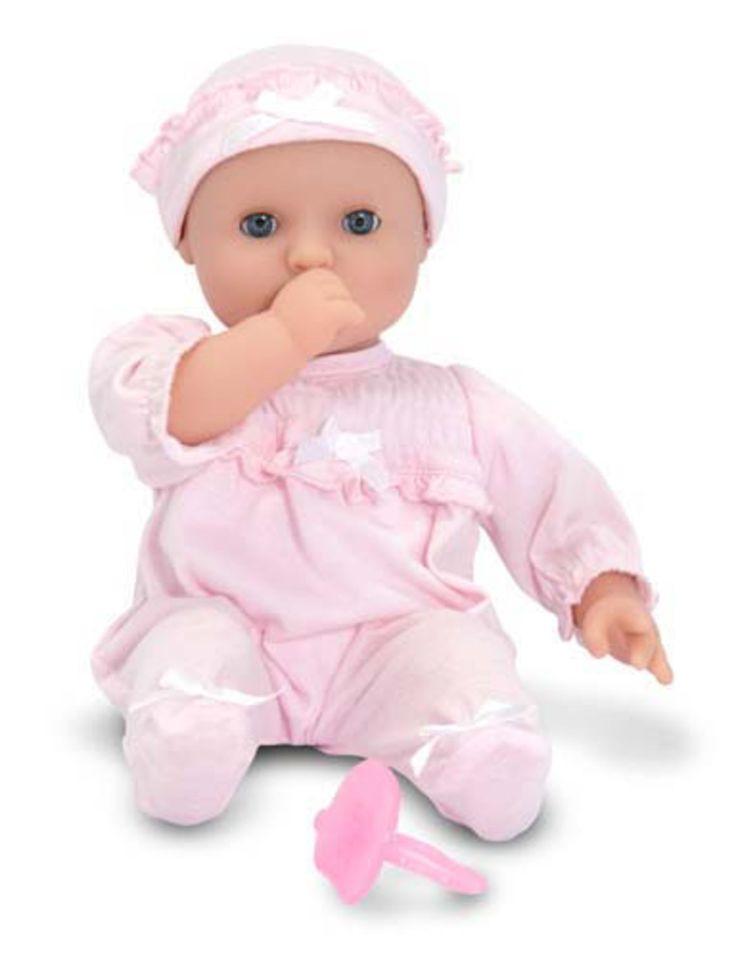 Melissa & Doug Jenna Docka är en underbar mysig liten bebisdocka med armar och ben av plast samt en mjuk kropp. Jenna är klädd i rosa från topp till tå. Hennes ögon kan öppnas och stängas samt hon kan både suga på tummen eller napp. Hennes kläder går att ta av vilket blir lägligt vid alla blöjbyten och bad. <br><br>Dockan är parfymerad och luktar sött.<br><br>Rekommenderad ålder: Från 18 mån.<br><br>Mått: 32 x 19 x 12 cm.<br><br>Material: Pl...