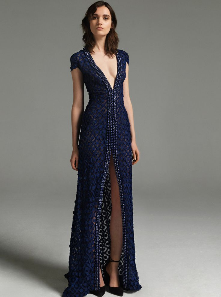 Costarellos Fall Winter 2017/18 - FW1724<br />Plunging Neckline Long Dress with Front Split