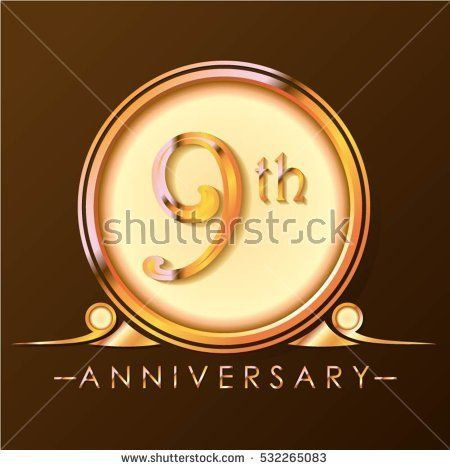 chocolate and gold circle 9th anniversary design