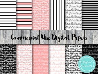 black damask digital paper, pink dakask digital paper dp119