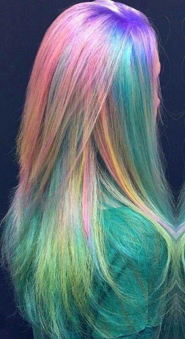 Rainbow dyed hair color @embee.meche