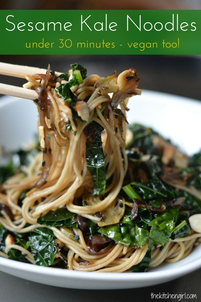 Sesame Kale Noodles - your next (healthy) last-minute meal. Kale, brussels sprouts, sesame, and noodles equals weeknight, vegan happiness. thekitchengirl.com