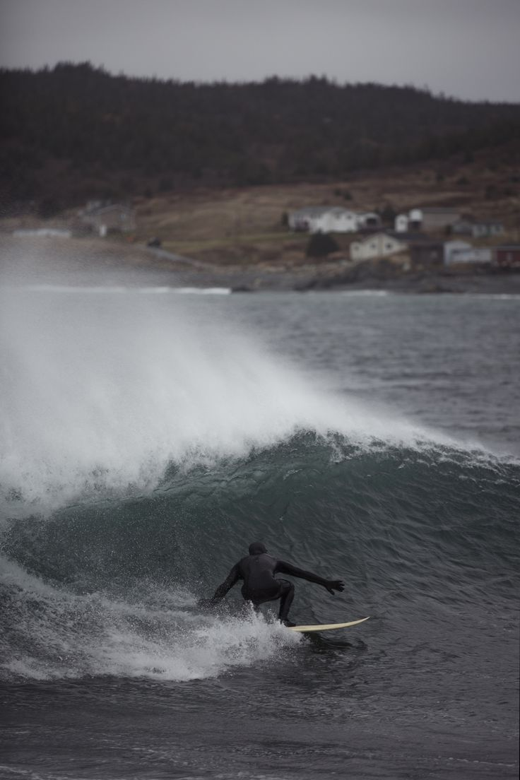 Cold Water surfing in the North Atlantic Ocean.  #canada #surfing #coldwatersurf #ocean #waves