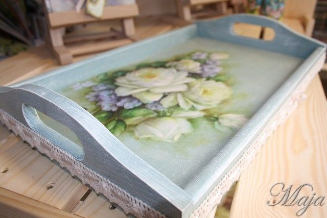 Serv your breakfast with style Tray with decoupage