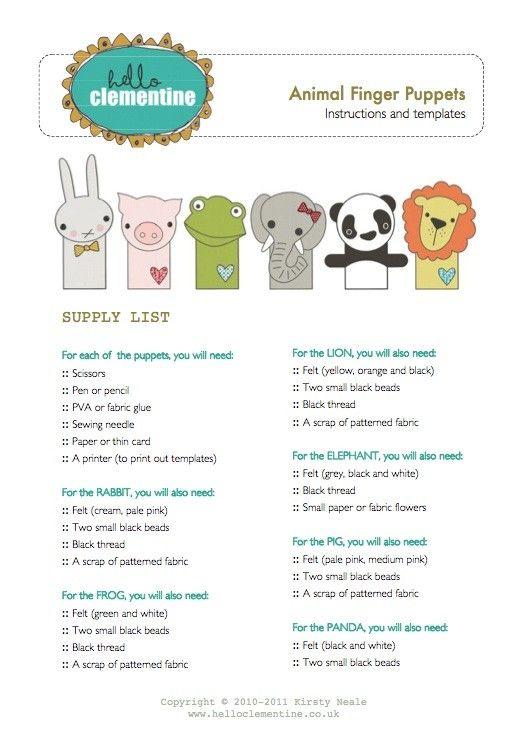 Animal Finger Puppet Patterns