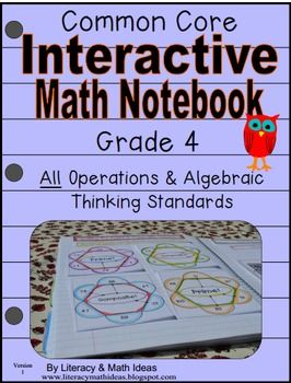 This 49-page document covers all of the Grade 4 Common Core  Operations and Algebraic Thinking standards. Students review Common Core with this fun interactive notebook. Students learn important Common Core concepts and vocabulary words. The lessons make the transition to Common Core easier and fun for students.What makes this product unique?Each standard also contains a Practice and Learn section.